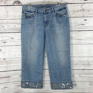 APT 9 Jeans Capris  Embellished Cuffed Distressed